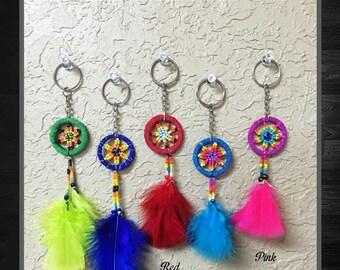Dream Catcher Feather Keychain