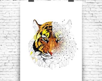 Art Print Geometric Tiger Wall Art Print