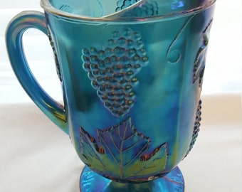 Blue Carnival Glass Pitcher, iridescent glass, Blue pitcher, Indiana Glass Company
