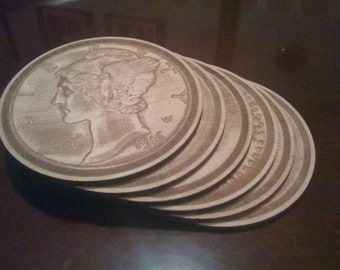 Antique Coin Replica Wood Coasters  (Set of 6) Laser Engraved
