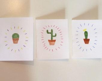 3pk Handmade Watercolor Greeting Cards