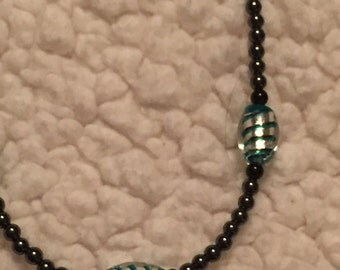 """18"""" hematite and glass bead necklace"""