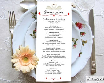 Printable Menu Card for Wedding, Menu Dinner Card, Rustic Wedding, Menu Kraft Paper, Wedding Menu Editable, Instant Download SWANS01