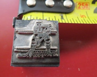 Vintage Zinc/Lead printing block -Hockey
