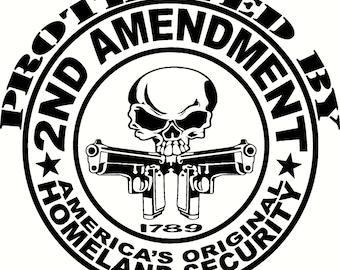 2ND AMENDMENT gun with pistol vinyl decal sticker car truck window ak 22 color options
