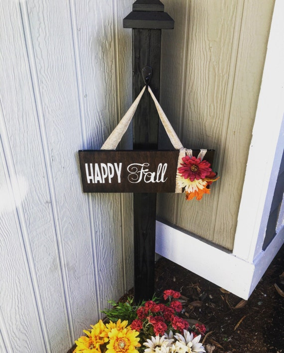 Happy Fall Decorative Wood Sign - Indoor or Outdoor Hanging Entry Sign