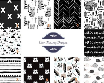 Black and White Woodland Nursery Bedding Set - Fox Baby Bedding - Monochromatic Woodland Bedding - Black and White Toddler Bedding