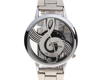 Modern Sleek Silver Link Music Note Clear Face Watch Men Or Women