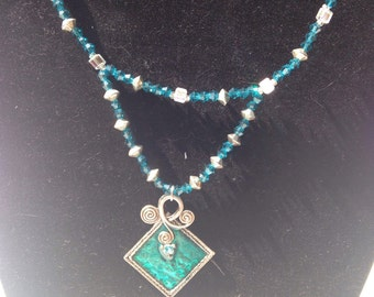 Teal beaded necklace