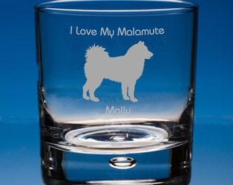 Alaskan Malamute Whisky Glass, Personalised Gift, Whiskey Gift Malamute Dog Lover, Malamute Gift, Malamute Birthday Gift, Dog Whiskey Glass