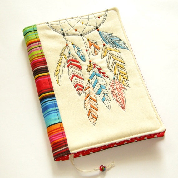 Handmade Story Book Cover ~ Dreamcatcher fabric book cover reusable notebook case