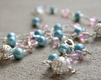 Cotton Candy Long Wire Wrap Necklace (#1006)