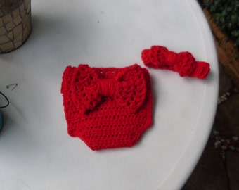 Red Diaper Cover and Headband With Bow