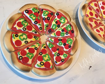 Pizza Slices royal icing sugar cookies supreme pizza pepperoni slice pizza cookies