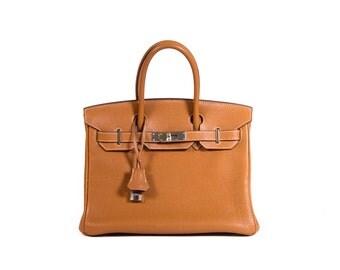 Hermes Birkin 30 Gold Leather Previously Owned Vintage Designer Handbag