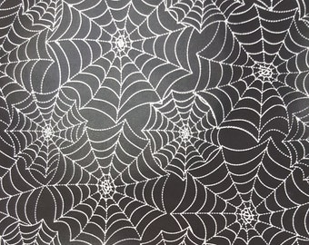 100% Cotton Spider Web Black Print Fabric by the Yard