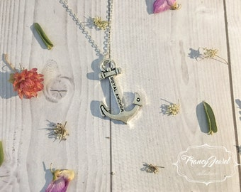 Silver anchor necklace, nautical necklace, anchor necklace, necklace for him, silver necklace, elegant necklace, birthday gift, gift for him