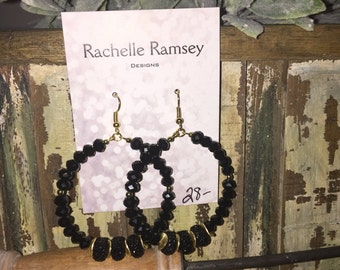 Gorgeous black and gold beaded earrings