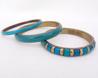 Collection of Three Blue and Turquoise Bangles - Brass and Resin Bracelets - Boho, Festival Jewellery, Jewelry - Turquoise, Blue, Cyan