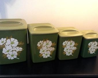 Vintage kitchen canister set, avocado green vintage canister, vintage plastic canister,nesting canister set