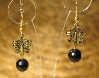 Hand made black buterfly earrings