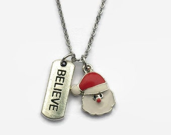 Valentines Necklace - Valentines Jewelry - Santa Claus Jewelry - Believe Jewelry - Mothers Day Gift - Holiday Gift - Holiday necklace
