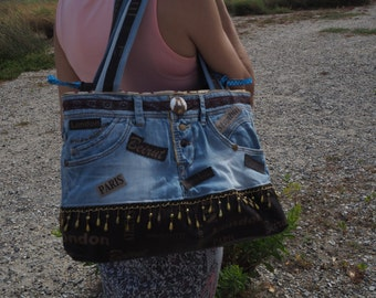 Handbag original and unique, handmade from recycled jeans