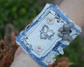 Believe and Butterfly Cuff Wristlet with Zipper