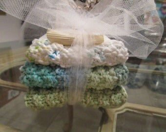 3 Coordinating Hand Knit Wash Cloths Or Dish Cloths With A 1.5 Oz. Bar of Almond Soap Gift Set.