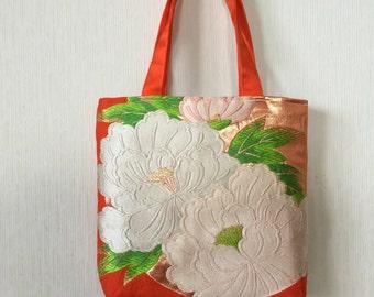 Japanese kimono obi tote bag by Chie Wabi