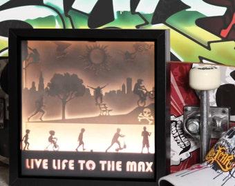 BOYS - Shadow Box / Night Light - Handmade