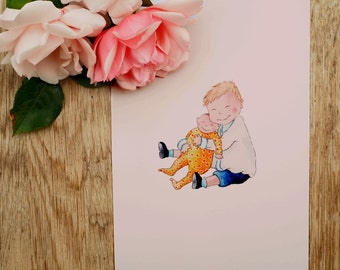Prince George and Princess Charlotte Illustrated A5 Print