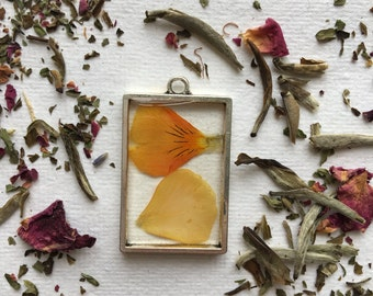 Small rectangle open back pansy petals pendant