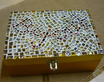 Wooden box with mosaic decoration