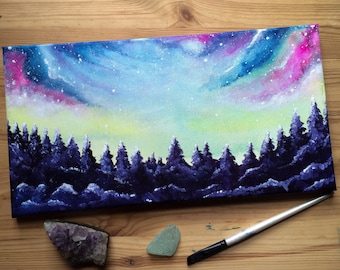 Into Tge Cosmos - Magical Forest Galaxy Original acrylic Painting on canvas 20x33 cm