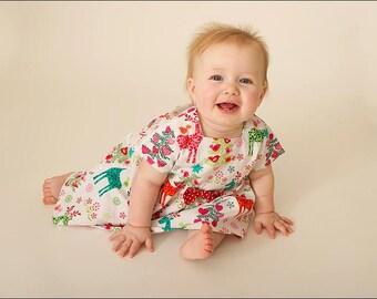 Designer Michael Miller Xmas Theme Print Dress in sizes Newborn-6 Years 100% Cotton