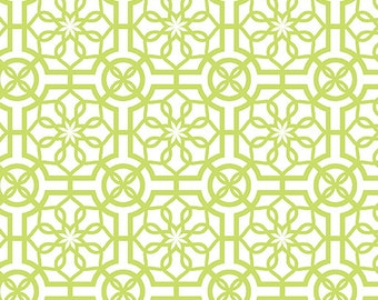 Trendy Trellis White/Lime Cotton Fabric - Bahama Breeze Collection, Fabrics, Fat Quarter, Fabric by the Yard, Quilting Fabric, Cotton Fabric