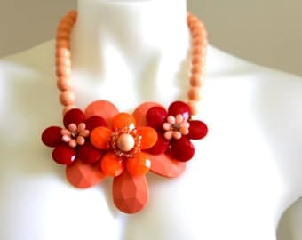Vintage Costume Chunky Necklace, Costume Jewelry, Statement Necklace, Bold and Chunky Necklace