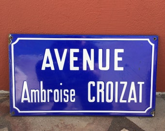 Old French Street Enameled Sign Plaque - vintage croizat 5