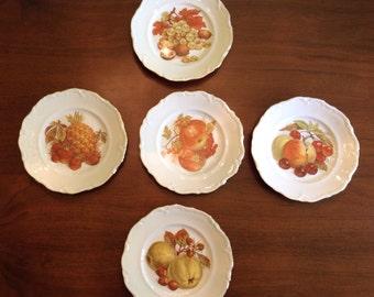 """Gold trimmed 7.5"""" fruit plates"""