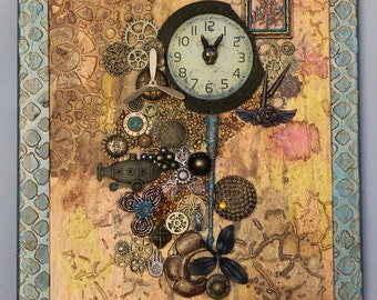 Mixed Media Assemblage Steampunk Art Original Collage Vintage Hand Painted OOAK Found Objects