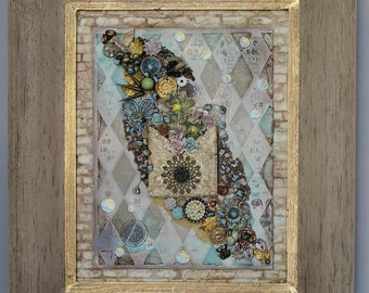 Framed The Envelope Overfloweth Mixed Media Assemblage Art Original Collage Vintage Elements Hand Painted OOAK Found Objects