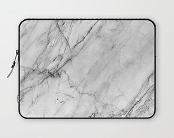 "White marble Laptop Sleeve macbook for 10"" 11"" 12"" 13"" 15"" 17"""