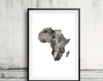 Africa Map Art Print - Elephant Wall Art - African Home Decor - Watercolor Elephant Artwork - Animal Art - African Elephant Print