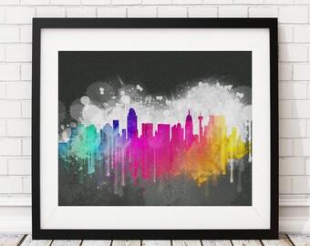 San Antonio Skyline Print, San Antonio Art, San Antonio Print, Watercolor Art, Watercolor Painting, Wall Art, San Antonio TX, Poster, Gift