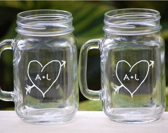 Personalized Mason Jar Wedding Glassware with Handle,