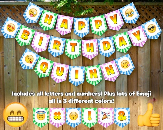 Emoji Printable Happy Birthday Banner