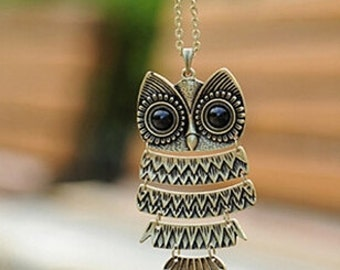 Retro Jewelry Vintage Ancient Bronze Big Eyes Owl Necklace -