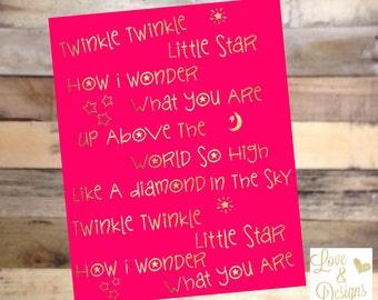 Twinkle Twinkle Hot Pink Printable