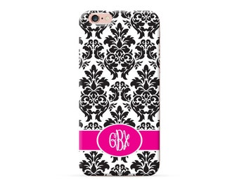 Monogram iPhone 7 Case custom made for iPhone 6 iphone 6s iPhone 6s Plus iphone 6 plus case Damask Black Floral Personalized Case